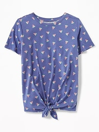 Tie-Front Watermelon-Print Top for Girls