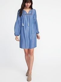 Embroidered Tencel&#174 Shift Dress for Women