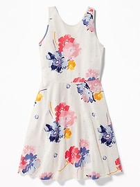Patterned Fit & Flare Jersey Sundress for Girls