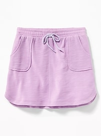 French-Terry Dolphin-Hem Utility Skirt for Girls