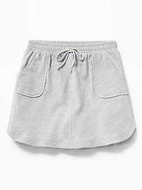 French-Terry Dolphin-Hem Utility Skirt for Girls