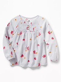 Smocked-Yoke Peasant Blouse for Girls