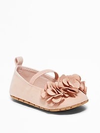 Sueded Flower-Petal Ballet Flats for Baby