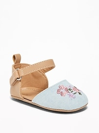 Embroidered Chambray D'Orsay Flats for Baby