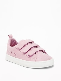 Sueded Triple-Strap Sneakers for Toddler Girls