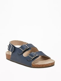 Faux-Leather Buckled-Strap Sandals for Toddler Boys