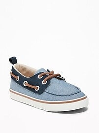 Color-Blocked Canvas Boat Shoes for Toddler Boys