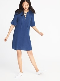 Chambray Lace-Up Shift Dress for Women