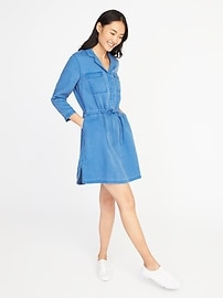Tencel&#174 Tie-Belt Utility Shirt Dress for Women