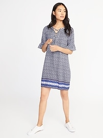 Lace-Up-Yoke Shift Dress for Women