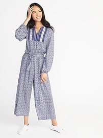Printed Tie-Waist Jumpsuit for Women
