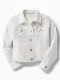 Clean-Slate White Denim Jacket for Girls