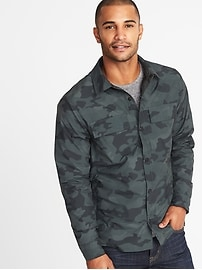 Mesh-Lined Water-Resistant Shirt Jacket for Men