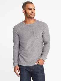 Sweater-Knit Raglan-Sleeve Tee for Men