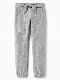 Tie-Front Fleece Joggers for Girls