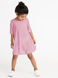 Elbow-Sleeve Swing Dress for Toddler Girls