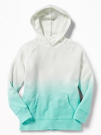 Dip-Dye Ombré Fleece Pullover Hoodie for Girls