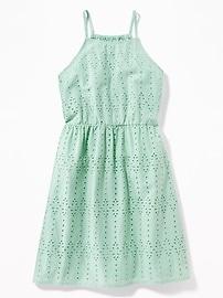 High-Neck Eyelet Cami Dress for Girls