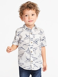 Sea-Creature Print Built-In Flex Shirt for Toddler Boys