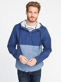 Color-Blocked Built-In Flex Pullover Jacket for Men