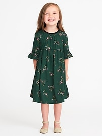 Printed Cinched-Waist Midi for Toddler Girls