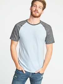 Soft-Washed Color-Block Raglan Tee for Men