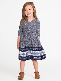 Geometric-Print Crepe Midi for Toddler Girls