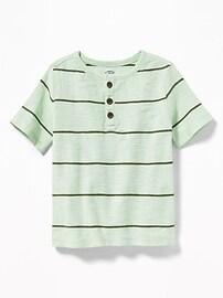 Striped Slub-Knit Henley for Toddler Boys