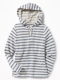 Relaxed Lace-Up Hoodie for Girls