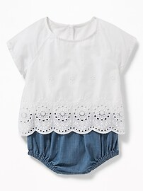 2-in-1 Eyelet Top & Chambray Bubble One-Piece for Baby