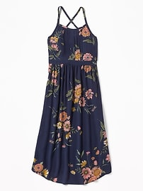 Pintucked Floral Crepe Midi for Girls