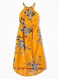 Suspended-Neck Floral-Print Midi for Girls