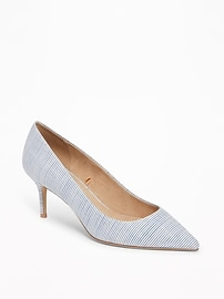 Chambray-Striped Mid-Heel Pumps for Women
