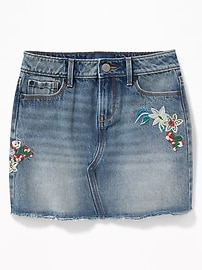 Floral-Embroidered Denim Mini for Girls