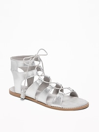 Silver-Metallic Lace-Up Gladiator Sandals for Women
