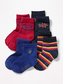 Patterned Crew Socks 4-Pack for Toddler & Baby