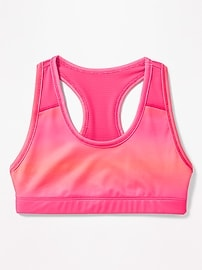 Mesh-Trim Racerback Sports Bra for Girls