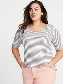 Fitted Ballet-Neck Plus-Size Jersey Tee