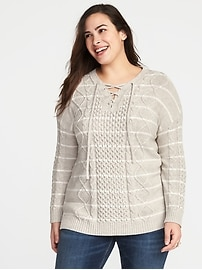 Plus-Size Lace-Yoke Cable-Knit Sweater