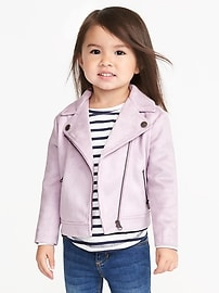 Sueded Moto Jacket for Toddler Girls