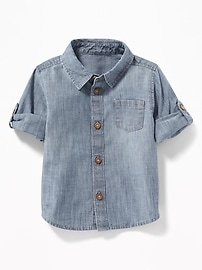 Chambray Roll-Sleeve Shirt for Baby