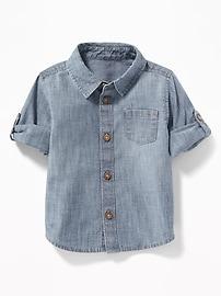 Chemise en cambrai à manches roulées pour bébé