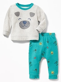 Graphic Fleece Sweatshirt and U-Shaped Pants Set for Baby