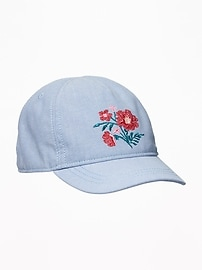Floral-Embroidered Chambray Cap for Toddler Girls