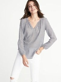 Relaxed Striped Crepe Blouse for Women