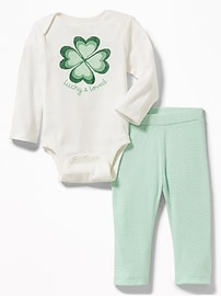 2-Piece St. Patrick's Day Graphic Bodysuit and Leggings Set for Baby