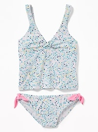 Patterned Twist-Front Tankini Set for Girls