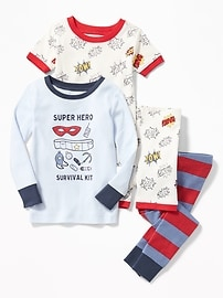 4-Piece Super Hero Graphic Sleep Set for Toddler & Baby