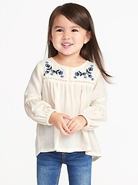 Embroidered Crepe Tunic for Toddler Girls