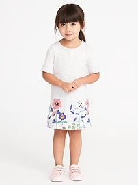 Patterned Rolled-Cuff Shift Dress for Toddler Girls
